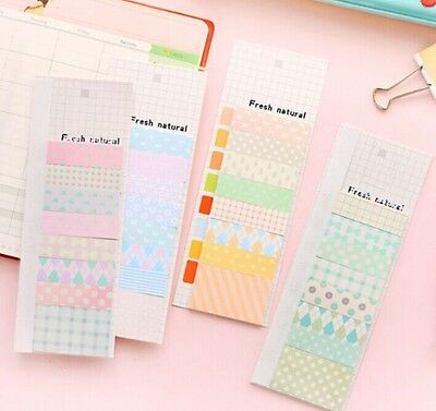 cute kawaii korean masking memo pad diary sticker note post it natural washi