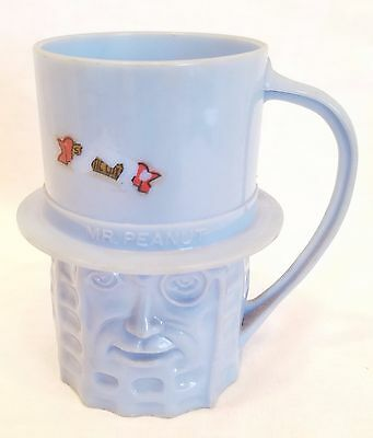 Vintage Planters Mr. Peanut Light Blue Plastic Cup / Mug