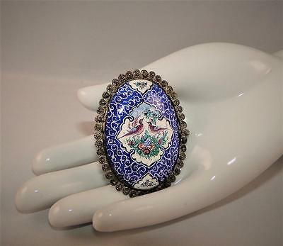 VTG PERSIAN HANDPAINTED PIN Brooch SILVER CANNETILLE BIRDS Middle EASTERN BLUE