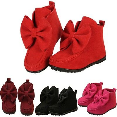 Winter Autumn Girls Shoes Kids Shoes Bowknot Princess Boots Warm Ankle Flat Boot