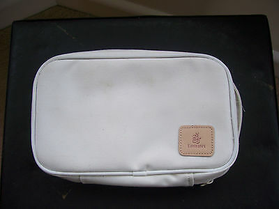 """White Zipped """"Emirates"""" Airline bag- 11 Compartments (approx 230mmx160mmx65mm)"""