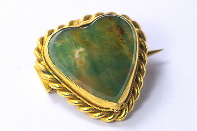 ANTIQUE VICTORIAN ENGLISH GILT & FIGURED HARDSTONE AGATE HEART BROOCH PIN c1880