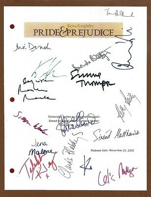 Pride And Prejudice Signed Script Rpt Keira Knightly Jena Malone