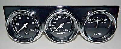 "New Super Pro Triple 2 5/8"" Gauge Set Oil Pressure Water Temp Amps Chrome Panel"