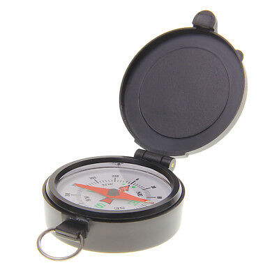 Outdoor Travel Navigation Black Acrylic Clamshell Compass with Lanyard Ring