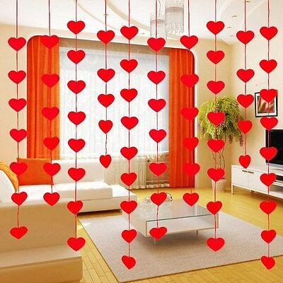 String Curtain Red Hearts Windows Door Divider DIY Decorative Drape Panel 1 Bag