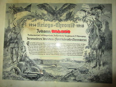 WW1 Original German military certificate of service Imperial German Reich 1914