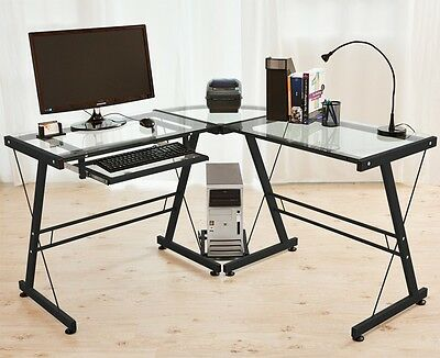 Corner Computer Desk Keyboard Shelf Home Office PC Black with clear glass