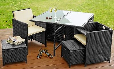Rattan Garden Patio Outdoor Furniture Dining Set 4 Armchairs Stools Table Black