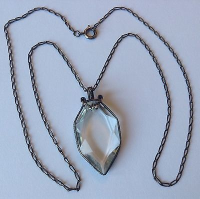 Vintage Art Deco Sterling Silver Clear Pendant Necklace Stunning