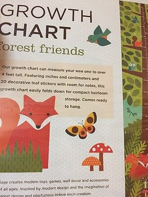 petitcollage growth chart fox Woodland creatures brand new sealed eco friendly