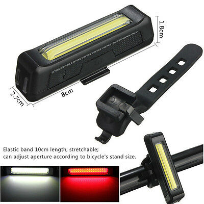 LED USB Rechargeable Head light Bicycle Bike Front Rear Tail Safety Brght Lamp
