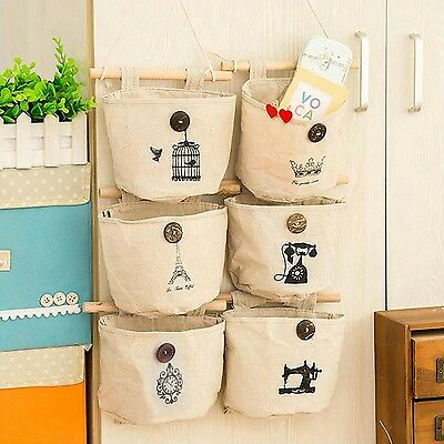 6 Styles Wall Sundry Fabric Cotton Pocket Hanging Holder Storage Bags Rack ma...