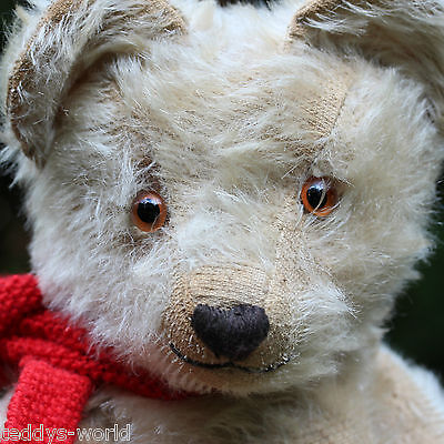 "CUTE ANTIQUE TEDDY BEAR 1920s WITH SMILING FACE WHITE MOHAIR FUR 19.7""  RARE"