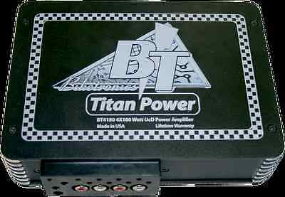 Biketronics 4 Channel 180 Watts Compact Titan Black Motorcycle Amplifier Harley