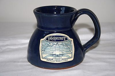 Deneen Pottery Handthrown Pinehurst Blue Mug Glass Cup 1895 North Carolina 3.75