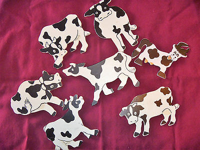 Collectible Wooden Holstein Cow Magnets