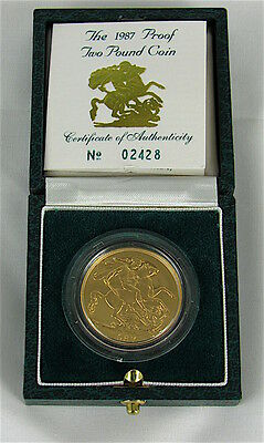 Great Britain 1987 Proof 2 Pound Gold In Case With Coa
