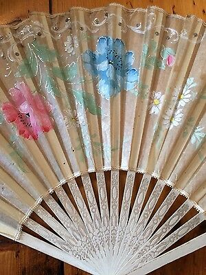 Antique hand painted arts and crafts pink blue ivory paper fan