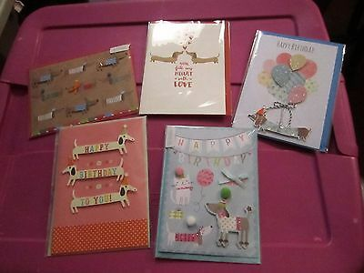 Lot of 5 Dachshund Birthday Valentines Day Greeting Cards NEW in Package