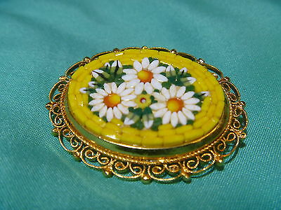 Italy Micromosaic Micro Mosaic Pin Brooch Yellow with White Daisy Flower vintage