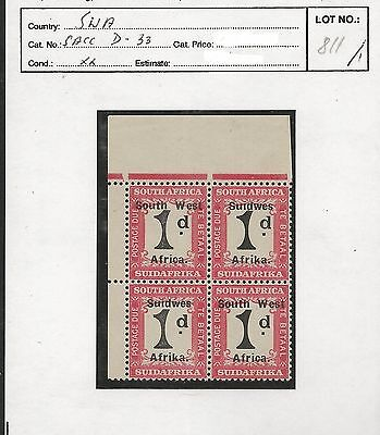 South West Africa 1927 Postage Due Stamps Group VII, 1d Block. MNH C2