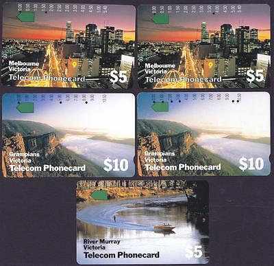 *PHONECARDS.USED.VICTORIA.SET of FIVE.Includes the reprints.*
