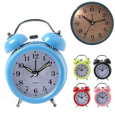 Newly Alarm Clock Classical Round Light Mute Bedroom Desk Analog Clock Snooze