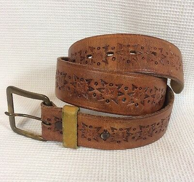 """Vintage 70's Brown Genuine Leather Western Belt Removable Buckle Size Small 29"""""""