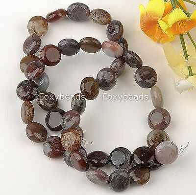 1 Strand 10x5mm Indian Agate Flat Round Coin Jewelry Loose Beads