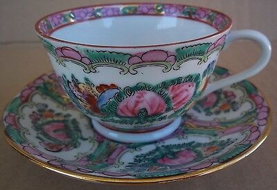 Vintage Japanese Porcelain Cup and Saucer Decorated in Hong Kong Y.T.
