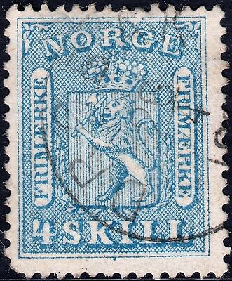 Norway 1863 4s Blue Arms Fine Used CV £90