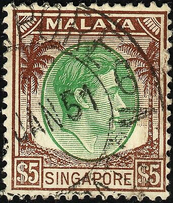 Singapore 1948 KGVI $5 Green & Brown Perf 14 Used