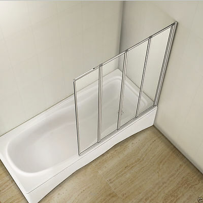 Aica 900 Square 4 Fold Folding Bath Shower Screen  Reversible Glass