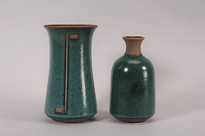 Pair of Contemporary Studio Pottery Vases Teal Glaze Signed