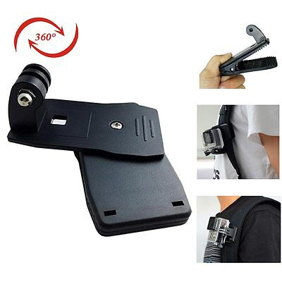360 Rotary Backpack Hat Rec-Mounts Clip Fast Clamp Mount for GoPro Hero 4 3 3+ 2