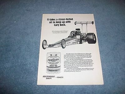 1984 Pennzoil Motor Oil Vintage Ad with Gary Beck Miller Lite Top Fuel Dragster
