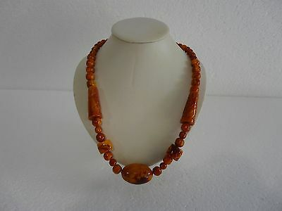 Rare Vintage Art Deco Graduated Bead Marbled Resin Early Plastic Necklace