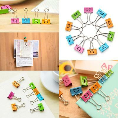 40pcs Lot Smiling Face Metal Binder Clip Office File Paper Organizer Clip LJ