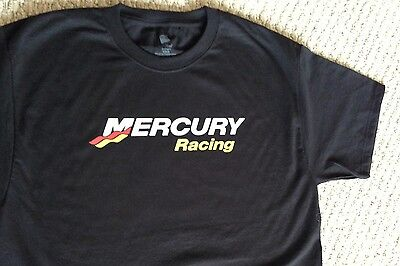 Mercury Racing T-Shirt BLACK XLARGE WITH 2 Mercury Racing Stickers Decals Boat