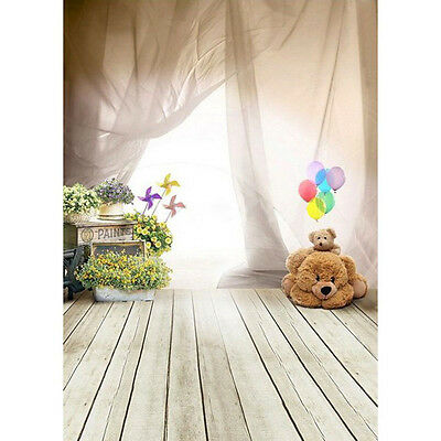Cute Baby Kids Photography Background Ballon Bear Floor Photo Backdrop Props New
