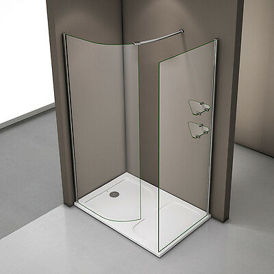 Aica 1200x800mm Walk In Shower Enclosure and Tray Curved Glass Screen Cubicle
