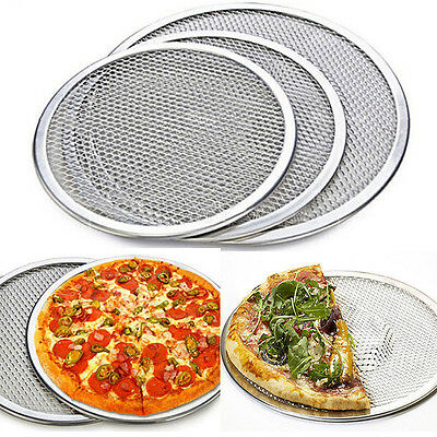 6 Size Seamless Aluminum Pizza Screen Mesh Oven Baking Tray Round Pizza Plates