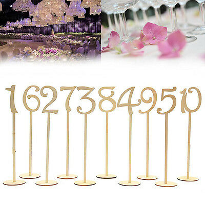 Wooden Shape Table Numbers Stick Set with Base French Font Wedding Birthday New