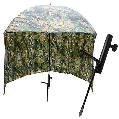 """Camo Carp Fishing 45"""" Umbrella Brolly With Sides And Bag + Brolly Spike Pegs"""