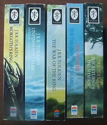 J.R.R. Tolkien x5 books History of Middle Earth Series + Unfinished Tales