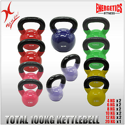 4x2+6x2+8x2+10x2+12x2+20KG - TOTAL 100KG IRON VINYL KETTLEBELL WEIGHT TRAINING