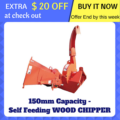 WOOD CHIPPER SELF FEEDING Tree Mulcher 3 Point Linkage PTO Driven 150mm Cut NEW