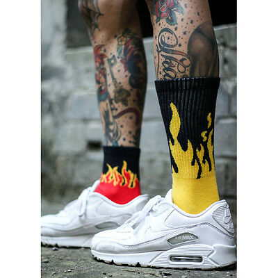Yellow Red Fire Socks Cotton Skateboard Not Stance