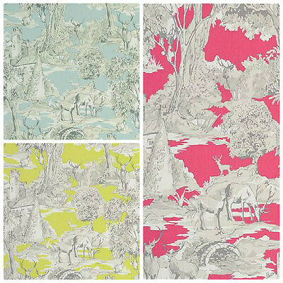 Clarke and Clarke Manor Toile Curtain Fabric - Citrus Mineral & Raspberry